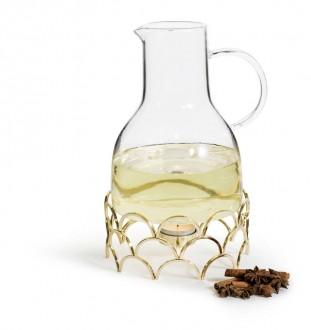 Złoty dzbanek do grzanego wina z podgrzewaczem