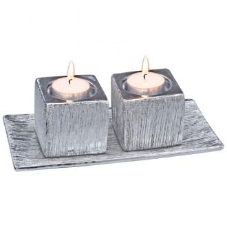 Zestaw 2 świeczników i podstawki